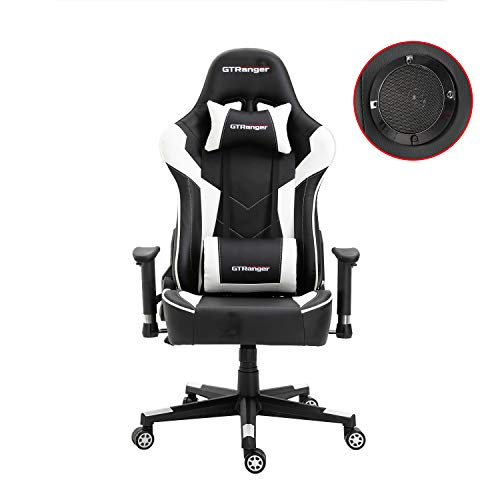 GTRanger Gaming Chair with Speakers Video Game Chair Racing Style Ergonomic Office Chair Adjustable Computer Desk Chair - White & Black black chair gaming
