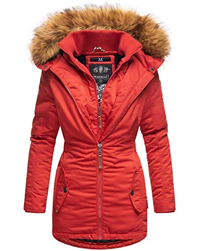 Marikoo Designer Damen Winter Jacke Parka Mantel Teddyfell warm gefüttert B825 [B825-Sanak-Rot-Gr.L]