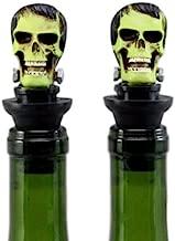 Ebros Set of 2 Frankenskull Dr Victor Frankenstein Monster Skull Wine Stoppers 3