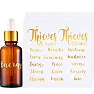 9 Sheets Essential Oil Labels Vinyl Essential Oil Bottle Labels Waterproof Essential Oil Sticker DIY Label Accessories for Small Essential Oil Bottle, Gold
