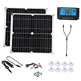 Baoblaze Kit de Inicio de Panel Solar 2 en 1 de 300 vatios, módulo fotovoltaico monocristalino de Alta eficiencia para el hogar, Camping, Barco, Caravana, RV y - 2Panel 40AContro