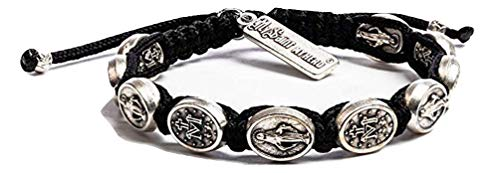 My Saint My Hero Miraculous Mary Blessing Bracelet - Black/Silver