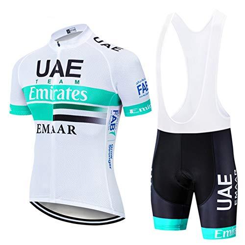 Verano Hombre Ciclismo Jersey Manga Corta UAE Equipo Cian-Bl