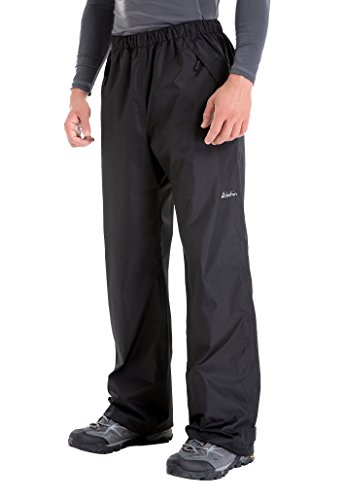 Clothin Men's Rain Pants Waterproof Elastic-Waist Drawstring with Front Zipper Pockets Basic Insulated Workout