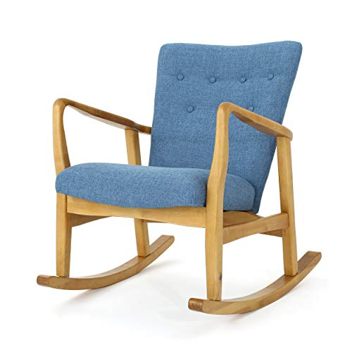 Christopher Knight Home Collin Mid Century Fabric Rocking Chair, Muted Blue, Light Walnut