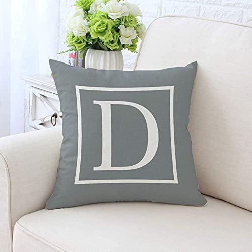 GuLL Funda de cojín con alfabeto de alfabeto gris decorativa, para dormitorio, sofá, funda de cojín decorativa, funda nórdica, 45 x 45 cm (D)