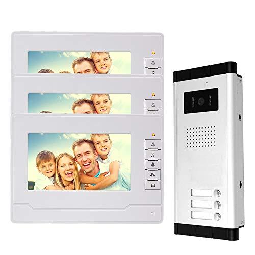 NN99 Sistema de intercomunicación por video Sistema de 3 monitores Timbre de video con cámara IR Visión nocturna Teléfono de la puerta para el hogar 3 apartamentos