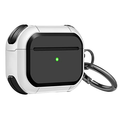 DMMG Military AirPods Case Cover Designed for AirPods, Full-Body Protective Front LED Visible AirPod Case with Keychain for AirPods Wireless Charging Case (AIRPODS PRO, Black and White)