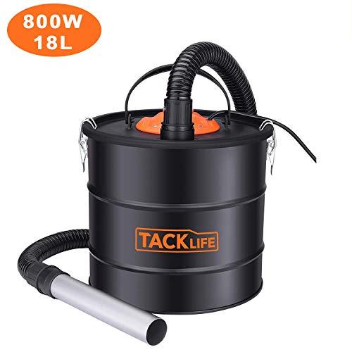 TACKLIFE Aschesauger, 18L 800W Kaminsauger, HEPA Filter + Staubfilterband, Edelstahlhebälter Aschesauger für kamin testsieger PVC03