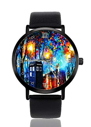 Paintings Tardis Leonid Afremov Doctor Who Reloj de Pulsera Ultrafino para Hombre y Mujer, Casual, Deportivo, de Cuarzo, para Mujeres, Hombres, Resistente al Agua, Unisex