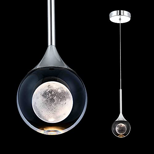 iKuccNi Globe Crystal Pendant Light, 5W Dimmable LED Hanging Light, Modern Pendant Lighting for Kitchen Island, Bedroom, Living Room, Dining Room, Bar Fixture Lights, Chrome