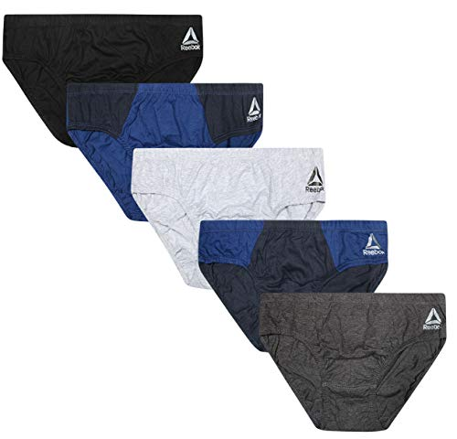 Reebok Men's Low Rise Underwear Briefs (5 Pack), Charcoal/Navy/Grey/Navy/Black, Small
