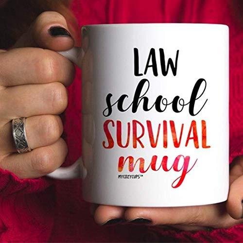 Taza de café de supervivencia de la escuela de derecho, taza de café de la escuela de derecho, regalo de futuro abogado, divertida taza de café de la escuela de derecho