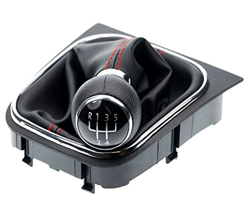 L&P A256-3 Schaltsack Schaltmanschette Schwarz Naht Rot Schaltknauf 5 Gang kompatibel mit VW Golf 5 V Golf 6 VI Rahmen Komplettset Knauf Plug Play Ersatzteil für 1K0711113 5K0711113 1K8711113