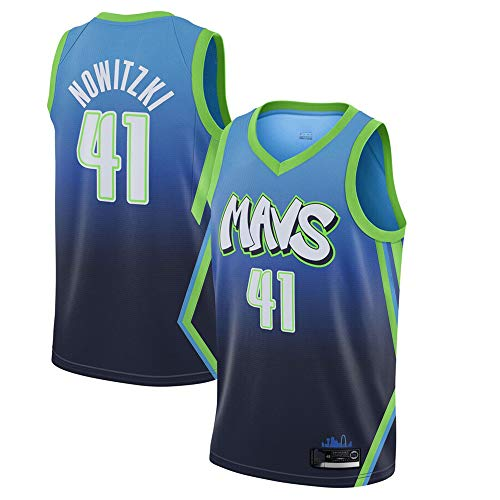 LCY Herren-Basketball-Jersey - NBA Trikot Mavericks # 41 Nowitzki Retro Breathärmel Sports Fitness T-Shirts Fans Swingman Trikots,A,L(180CM/75~85Kg)