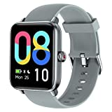LETSCOM Smart Watch for Android Phones Compatible with iPhone, 1.55 Inch Touch Screen, Fitness Tracker with Heart Rate Monitor & Blood Oxygen Saturation, 5ATM Waterproof Smartwatch for Women Men-Grey