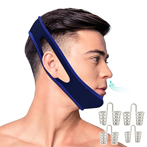 BONNA Anti Snoring Chin Strap - Snoring Solution and Snore Stopper Nose Vents - Adjustable Stop Snoring Sleep Aid for Men and Women-1 Chin Strap for snoring and Bonus 4 Set Nose Vents Snore Stopper!
