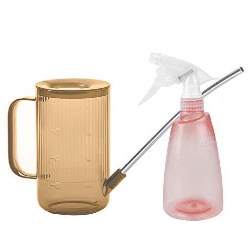 FALUCKYY Long Spout - Set de riego de plástico con boquilla de acero inoxidable para plantas de interior al aire libre, incluye botella de pulverización y regadera (marrón + rosa)