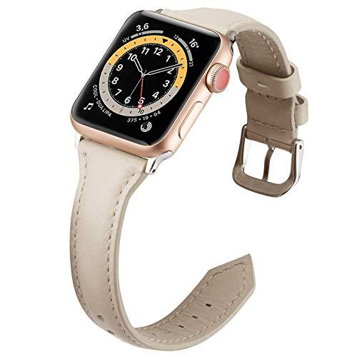 Miimall - Correa de reloj compatible con Apple Watch Serie 1, 2, 3, 4, 5, 6, SE, 44 mm, 42 mm, clásica, correa de piel para iWatch serie 1, 2, 3, 4, 5, 6, 42 mm, 44 mm, color beige