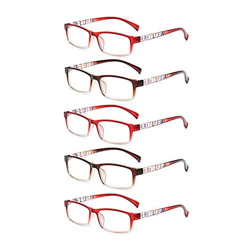 JTeam Lesebrille 5 Paar Geeignet For Frauen Mode Schön Damen Brille (Color : Brown Red, Size : 2.50X)