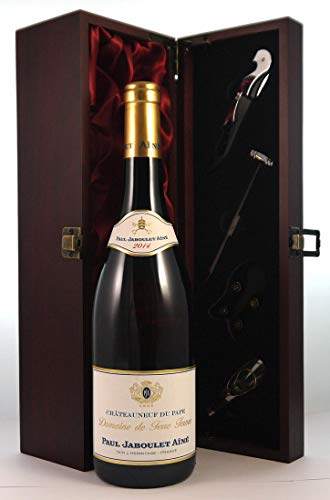 Domaine de Terre Ferme Chateauneuf du Pape Blanc 2014 Paul Jaboulet Aine en una caja de regalo forrada de seda con cuatro accesorios de vino, 1 x 750ml