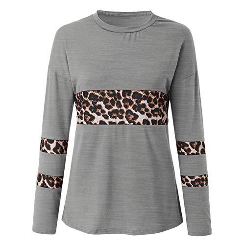 Camisa Mujer Manga Larga O-Cuello Casual Estampado de Leopardo Lateral Dividido Alto bajo Túnica Tops Top...
