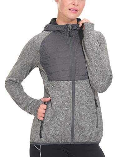 Little Donkey Andy Women's Lightweight Thermal Running Jacket Hooded Sports Track Jacket Quick Dry with Thumb Holes Gray Heather XS