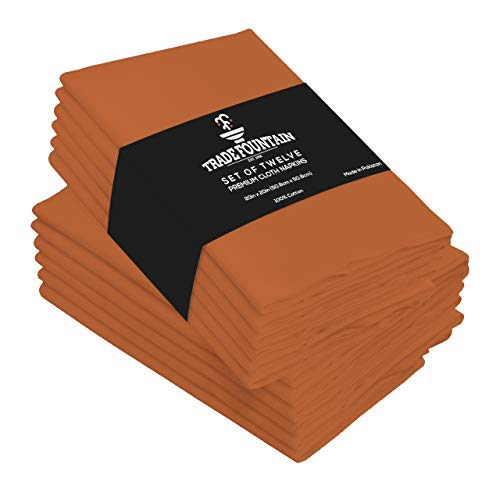 Cloth Napkins Set of 12 Cotton - 18 X 18 Reusable Napkins - Oversized Cotton Napkins Made of Pure Cotton Fabric - Used as Dinner Napkins (Rust)