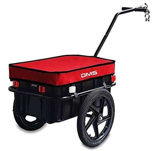 DMS® Fahrradanhänger, Lastenanhänger, Handwagen, mit Hochdeichsel, Transportbox mit 70 Liter Volumen, Max. 60kg, Kugel-Kupplung für Fahrräder mit 26\'\' - 28\'\' FH-01 (Rot)