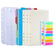 Antner 3 Pack A6 Refill Paper, 2 Pack 160pcs Neon Page Markers, 10pcs Binder Dividers, 3pcs Binder Pockets, 6 Holes Refills Accessories for Refillable A6 6-Ring Binder Notebook Planner