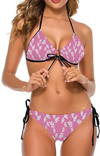 my cat Bikini 2-teiliges Set/Umweltfreundliches Bademoden-Geschenkset Bikini - Dreieck-Set Weißer Punkt Koralle Orange Tropische Pflanze-Wrapp7-XX-Large
