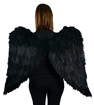Touch of Nature Black Adult Angel Wings - 43  by 27  - Halo Included - Black Feather Wing - Costume Wings - Large Angel Wings