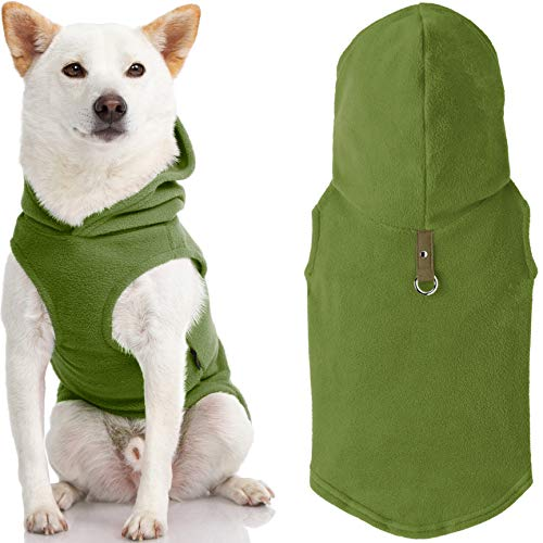 Gooby Fleece Vest Hoodie Dog Sweater - Green, Medium - Warm Pullover Dog Hoodie with O-Ring Leash - Winter Hooded Small Dog Sweater - Dog Clothes for Small Dogs Boy or Girl, and Medium Dogs