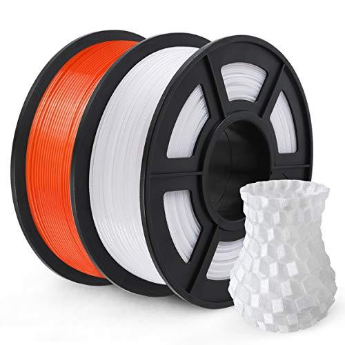 Filamento de impressora 3D SUNLU PETG, filamento PETG, precisão dimensional de 1,75 mm, +/- 0,02 mm, carretel de 2 kg, laranja + branco PETG