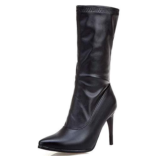 Zapatos De Tacón Alto Botas Mujer Punta Estrecha Ciudad Botas PU Artificial Sexy Calentar Moda Antideslizante Botas De Invierno,Negro,43