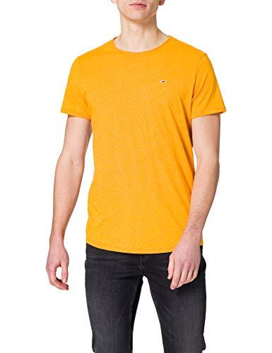Tommy Jeans TJM Slim Jaspe C Neck Camiseta, Florida Orange Htr, XS para Hombre