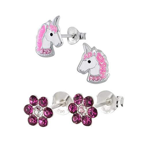FIVE-D 2 Paar Kinderohrringe Einhorn Pferd und Blume Kristall aus 925 Silber im Schmucketui (Pink-Glitzer-Kristalle)