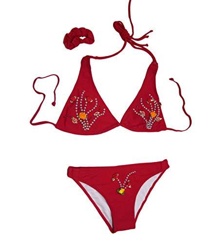 takestop® Badpak driehoekig verstelbaar slip parels roze rozelline bloemen met staart, kleurrijke kostuums verstelbare bretels kousenhouder zool zomer