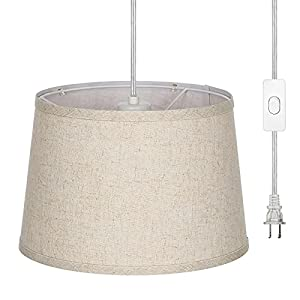 EDISHINE Plug in Pendant Light, Hanging Light with 15ft Clear Cord, On/Off Switch, Beige Linen Shade, Hanging Light Fixture for Bedroom, Kitchen, Living Room, Dining Table