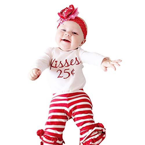 DAY8 Ensemble Bébé Fille Printemps Vêtements Bébé Fille Naissance Pas Cher Été Pyjama Fille Manche Longue Body Haut Combinaison Barboteuse Cadeau Saint Valentin + Pantalons (70(0-6 Mois), Blanc)
