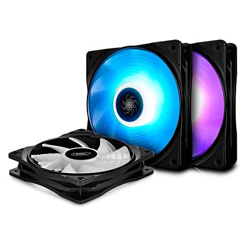 DEEP COOL RF120 Ventola RGB 120mm(3 in 1), 3 PWM Ventol3 Silenzioso ad Alte Prestazioni, Controllabile da Software della Scheda Madre o Controller, 12V 4pin RGB