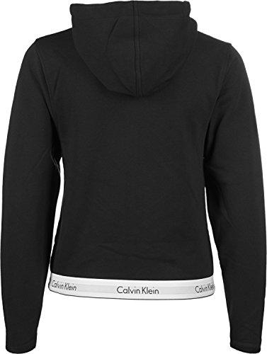 Calvin Klein Lounge Zip Up Hoodie-Modern Cotton Sudadera, Negro (Black 001), L para Mujer