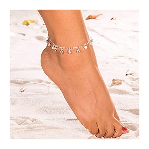 HETHYAN Colgante Crystal Toblet For Women Bohemian Gold Silver Color Zapato Cadena de Bota Pulsera Joyería (Metal Color : Style B)
