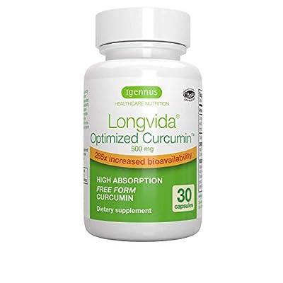 Longvida Optimised Curcumin 500 mg, 285x Increased bioavailability, Vegan, 30 Capsules