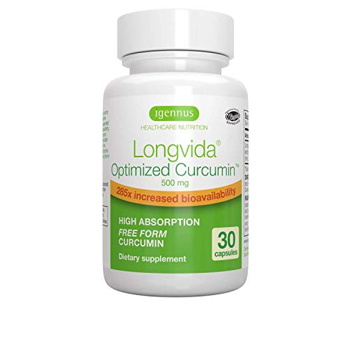 Longvida Optimised Curcumin, 500 mg, 285x Increased bioavailability, Sustained Action, Vegan, 30 Capsules