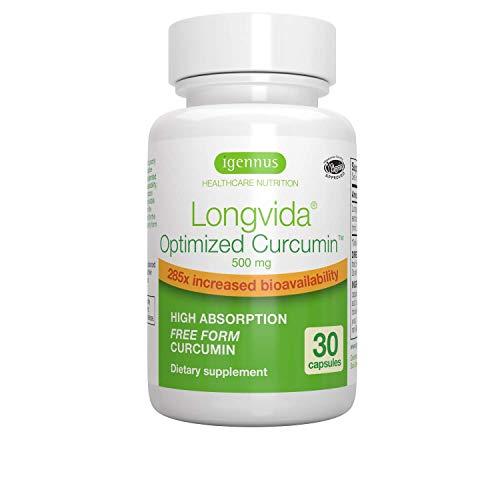 Longvida Curcumin Curcumina Ottimizzata 500 mg | 285x più biodisponibile, per il Massimo Assorbimento, Vegano - 30 capsule