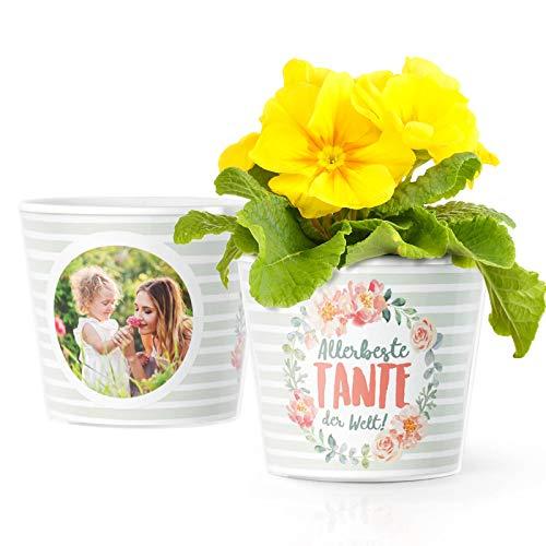 Facepot Tante Geschenk Blumentopf (ø16cm) | Geschenkidee für Tanten zum Geburtstag, Weihnachten oder Ostern mit Bilderrahmen für 2 Fotos (10x15cm) | Allerbeste Tante der Welt