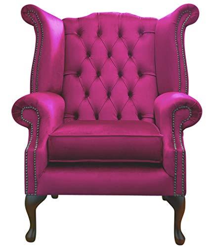 Chesterfield High back Queen Anne Chair Wing Back Armchair Stunning Pink Velvet