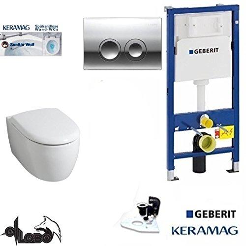 Geberit Duofix Vorwandelement, KERAMAG ICON XS WC Spülrandlos Komplettset + Deckel *Kein Softclose*, Keratect, Schallschutz, Drückerplatte chrom