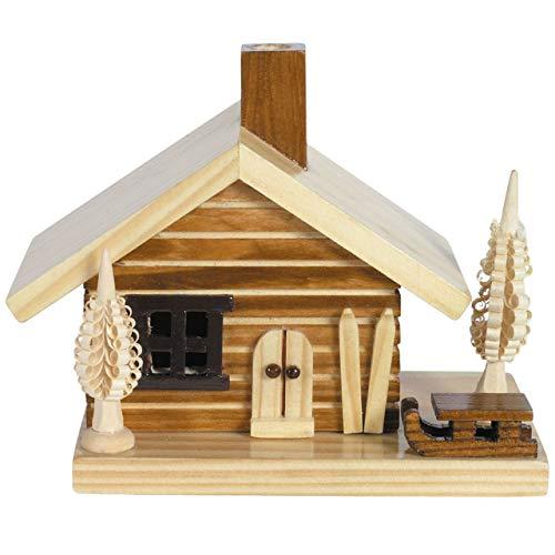 OBC Räucherhaus Skihütte Natur-braunt, ca. 12 cm/Räuchermännchen Dekofigur/Handbemalt im Erzgebirge - Stil/Räuchermann / Räucherfigur aus Holz